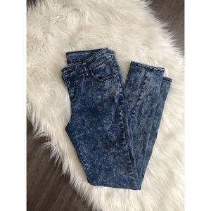 """Blue """"tie dye"""" pants size 4 ✨skinny leg"""